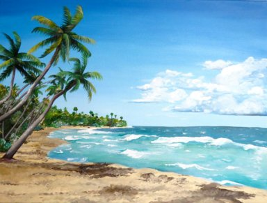 Palmas Del Mar beach acrylic painting Puerto Rico Christine Lezcano