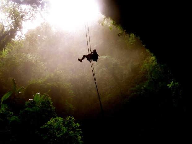 Dropping into Rio Camuy Caves Puerto Rico