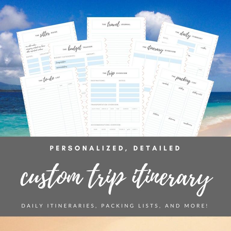 Etsy Listing Custom Trip Itinerary 1