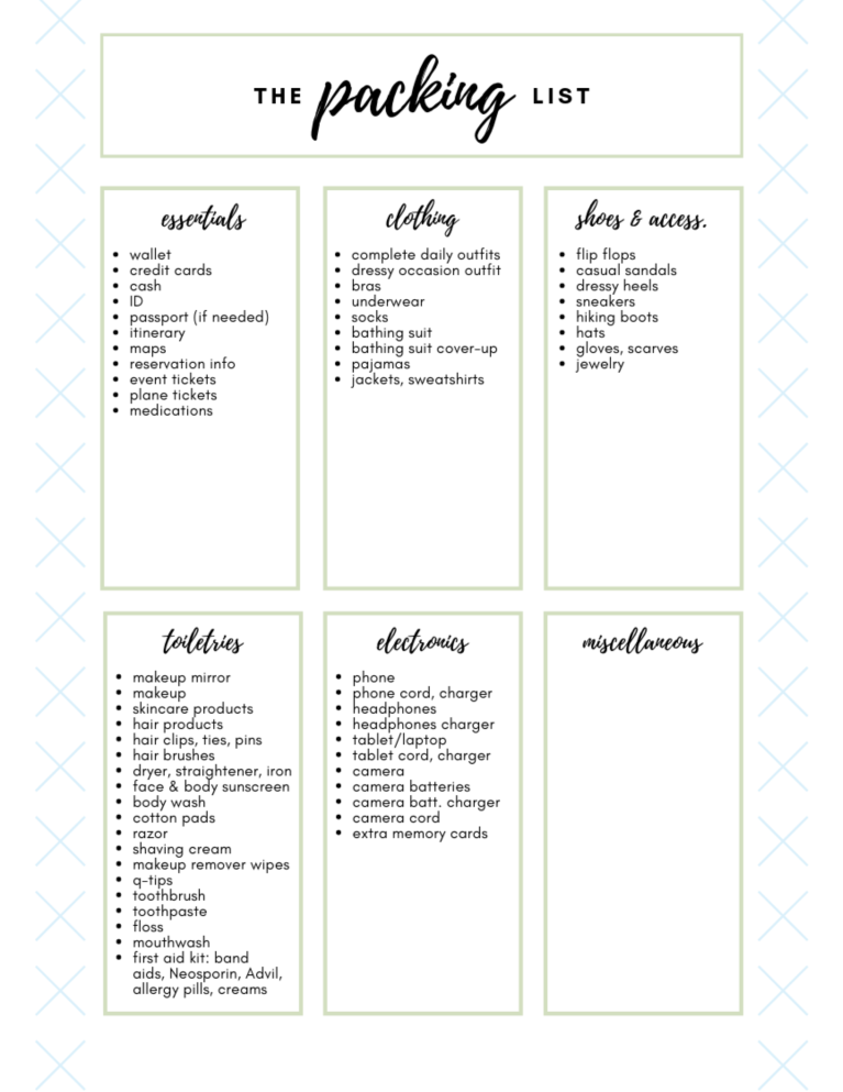 packing list prewritten png